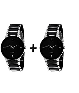 GTC QUARTS BLACK & SILVER ANALOG WATCH FOR MAN BUY ONE GET ONE FREE