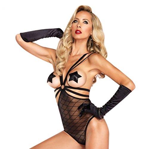 Leg Avenue 86556 Lingerie Sexy en résille Ouverture Polyamide-Diamond Gloss Teddy Par Preciastore buste Noir