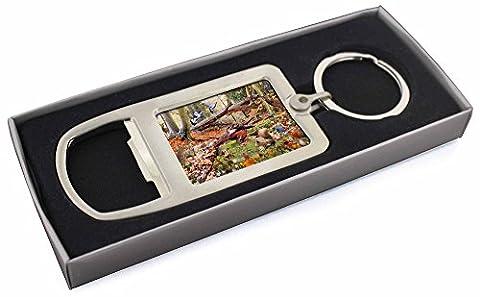 Woodland Forest Wildlife Animals Chrome Metal Bottle Opener Keyring in Box Gift