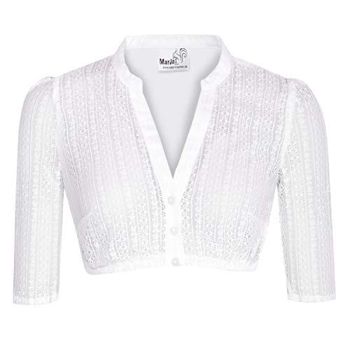 MarJo Trachten Damen Trachten-Mode Dirndlbluse Emma in Weiß traditionell, Größe:48, Farbe:Weiß