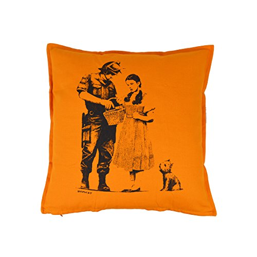 Banksy Kissen Dorothy Police Search 50× 50Orange 100% Baumwolle Printed in Italy by ()