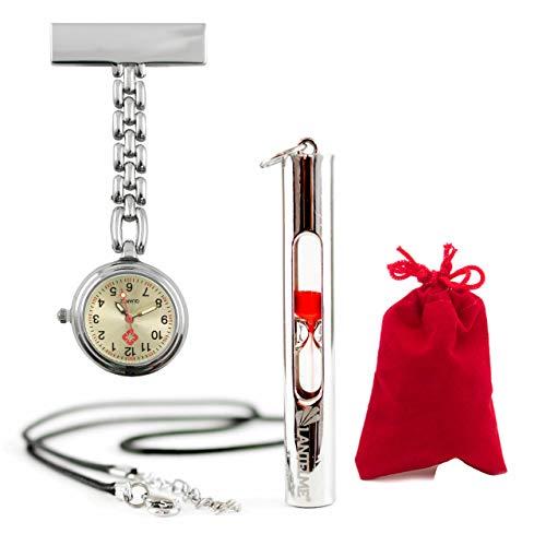 Lantelme Krankenschwester Uhr Puls Sanduhr 15 Sekunden Analog Set Samtbeutel rot Pulsuhr Kitteluhr 3342