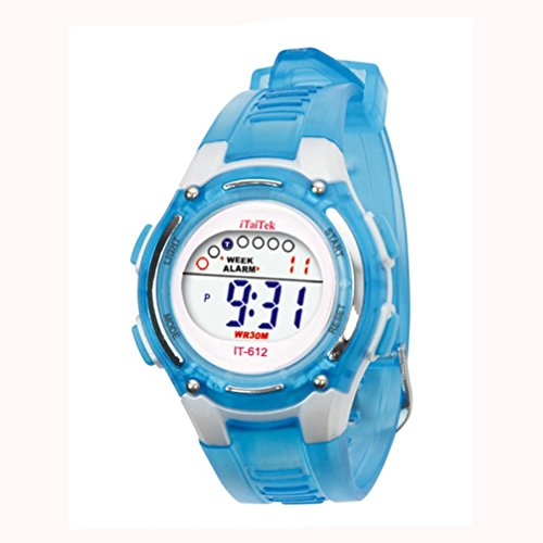LSAltd Schüler Uhr, Cute Flower Print Zeit Digitaluhr Jungen Mädchen Adjustable Elektronische AdWrist Sportuhr \ Schule, Party, Bibliothek (E)