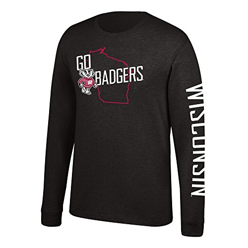 NCAA Men's Wisconsin Badgers Classic Heather Long sleeve Tee, Large, Black (T-shirt Wisconsin Baumwoll Jersey)