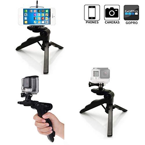 micros2u 4 in 1 Leichte Mini-Stabilisator-Pistolengriff-Stativstativ für iPhone, Handy, Gopro, DSLR, Camcorder, Videokamera und Digitalkamera Handy-camcorder