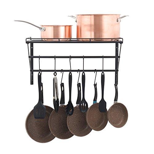 OROPY Topf-Rack Edelstahl Wandhalterung Küchenutensilien Regal 3-Tier mit 12 Haken (Gitterregal) (Edelstahl-wandhalterung Regal)