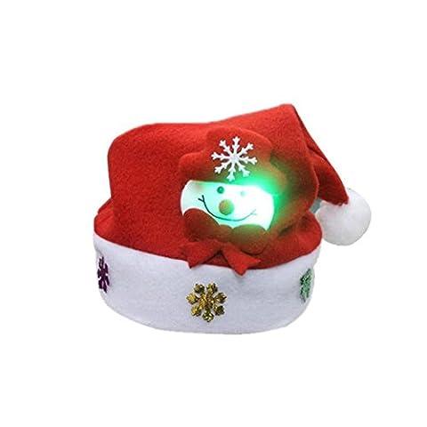 Décorations de Noël,Fulltime®Adulte conduit Noël chapeau Santa Claus Cap Rennes bonhomme de neige cadeaux de Noël (A)