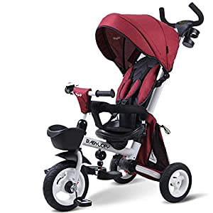 Kids Trike 4 in 1 Tricycle Pedal Trike with Safety Harness, Sun Canopy, Non-Slip Pedal, 2 Brakes for Children Safety And Comfortable,Red   4