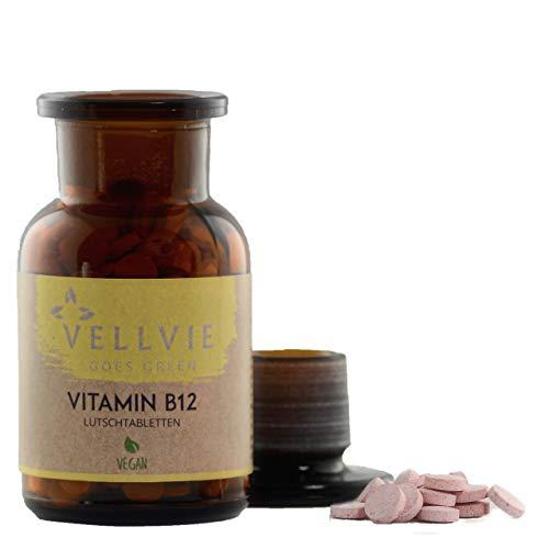 Vitamin B12 Lutschtabletten Nachhaltig & PLASTIKFREI | Vegan | 180 Stk. 1000µg B12 hochdosiert Methyl- & Adenosylcobalamin | STARTERPAKET von VELLVIE Goes Green