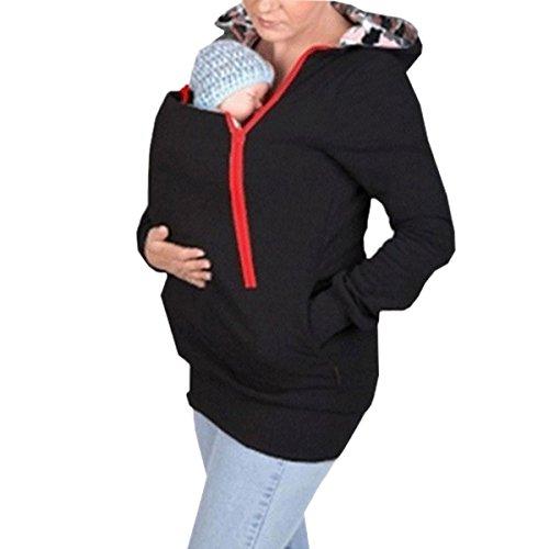 Aiffer Damen Umstandsjacke Tragejacke Sweatshirt für Mama und Baby 2in1 Känguru Jacke Mutterschaft Kapuzen Multifunktions Klassiker Baby Wearing Fleecepullover. (Mutterschaft-jacke)