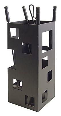 Imex El Zorro 10004 Square-Shaped Fireplace Set (50 x 20 x 20 cm) with Tools - Black