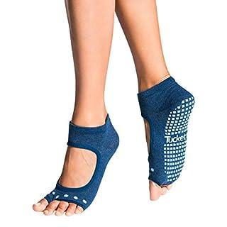 Tucketts Womens Yoga Socks Non Slip, Pilates Socks with Grips, Toeless Anti Slip No Show Ankle Sock for Barre, Sports, Ballet, Dance, Workout, Trainer - Allegro Style (Twilight Dot)