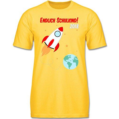 Einschulung - Endlich Schulkind Rakete 2018-164 (14-15 Jahre) - Gelb - F140K - Jungen T-Shirt (Gelb Erde)