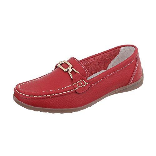 Ital-Design Mokassins Leder Damen-Schuhe Mokassins Moderne Halbschuhe Rot, Gr 40, 0511- -