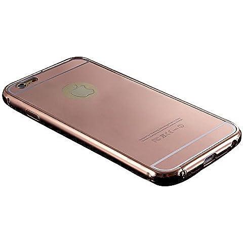 iPhone Funda de movil - TOOGOO(R)NUEVO Lujo Aluminio Ultra-delgado Espejo Metal Cubierta Funda para iPhone 5 / 5S Oro