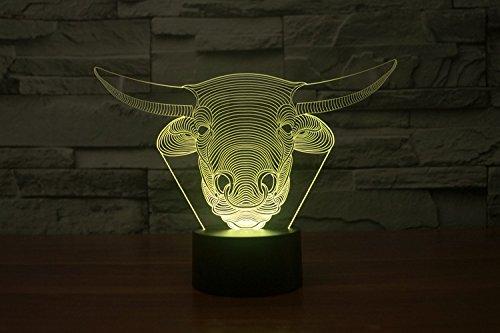 3d Nachtlicht Lampe,7 Farbe Touch Lampe Kiddie Geschenk Kinderzimmer Thema Dekoration 3D Licht Tier Rinder Kopf Led Schreibtisch Tisch Nachtlicht Lampe