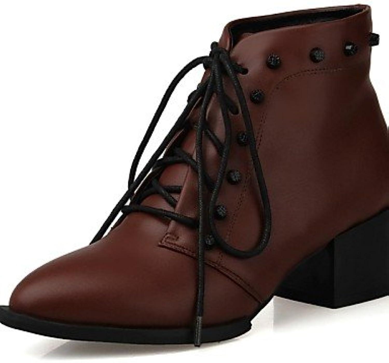 NJX/ Zapatos de mujer - Tacón Robusto - Puntiagudos / Botas de Moto - Oxfords - Oficina y Trabajo / Casual - Semicuero...