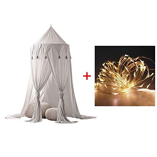 Ciel de lit équipé d'une guirlande lumineuse, moustiquaire, tente de jeu en forme de dôme, décoration pour chambre d'enfant