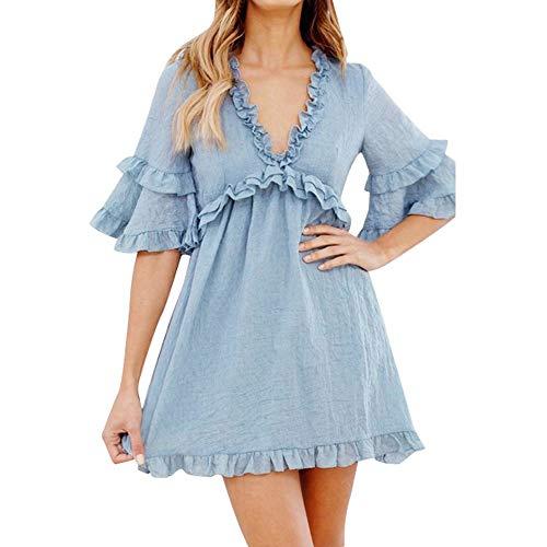 Junioren Tee (Go First Damenunterwäsche Süßes Langes Spitzenkleid Bloßes Kleid Durchsichtig Kimono Robe (Color : Sky Blue, Size : Small))