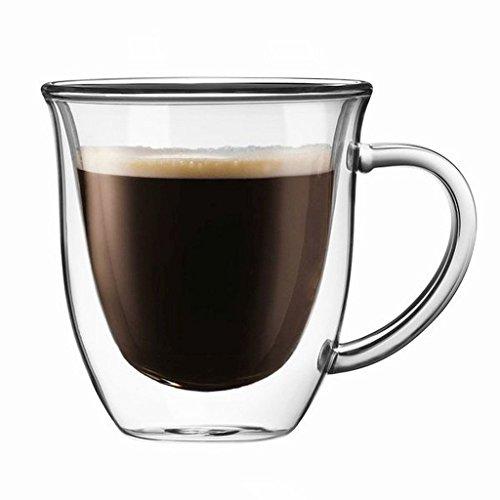 Joyjolt Double-Wall Isolierte Glas 7.4-ounce ¨¹ 2 doppelwandige Gläser ) doppelwandig Kaffee/Teetassen mit Henkel, robust elegant, spülmaschinenfest und mikrowellengeeignet. (bis 350 °F)