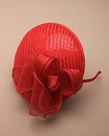 ROUND SEQUIN Hatinator Fascinator Alice Band Hairband Weddings Races Ladies (Red)
