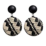 Longra Collar elegante! Las mujeres populares de estilo bohemio de madera de bambú de ratán geométricos pendientes redondos joyería de las señoras