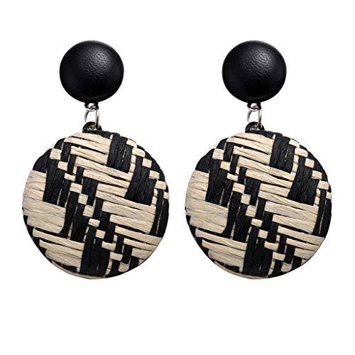Floweworld Damen Rattan Ohrringe Bohemian Style Handmade Stroh Wicker Braid Drop baumeln Ohrringe -