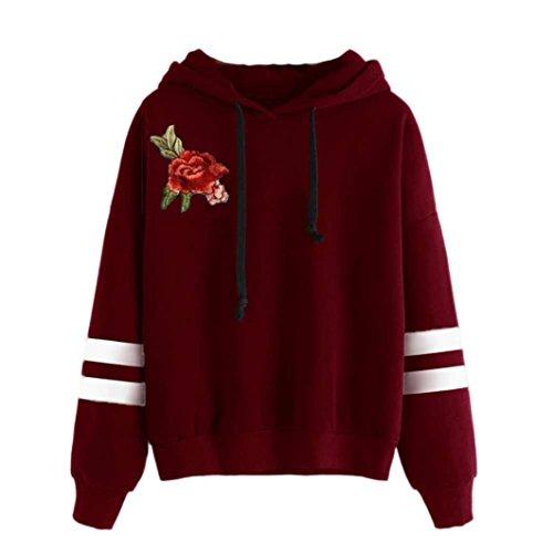 Amlaiworld Donna ricamo applique manica lunga Felpa con cappuccio maglione pullover maglione Rosso