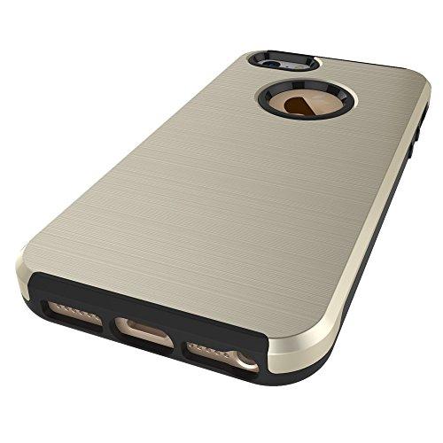 Pour Apple IPhone 5 5s & SE Case, fini métallique brossé Back Cover Dual Layer 2 In 1 Hybrid Hard PC Soft TPU Bumper Shockproof Case Cover ( Color : Gray ) Gold