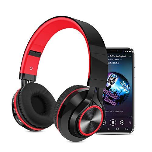 Huichao Drahtloses Bluetooth-Headset, kopfmontierter Subwoofer, steckbare Speicherkarte, Anrufbeantworter, kompatibel mit verschiedenen Smartphones, kabelgebundene und drahtlose Schaltung,Red