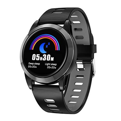 Lome Fitness-Tracker, Smart Sport Armband Herzfrequenz Blutdruck Blut Sauerstoff Erkennung Schlaferkennung Armband, Kompatibel Mit Android IOS-System,Blackgray