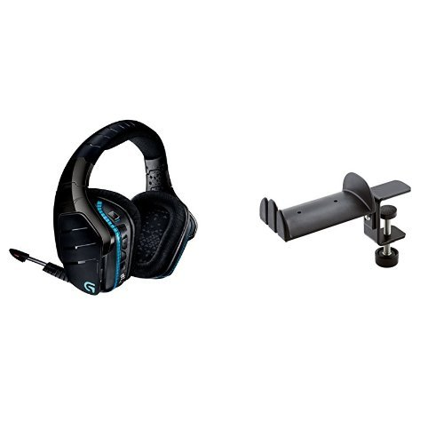 Logitech G933 Artemis Spectrum Kabelloses professionelles Gaming Kopfhörer (mit 7.1-Surround-Sound, 2,4-GHz-Verbindung) schwarz + König & Meyer 16090-000-55 Kopfhörerhalter Bundle