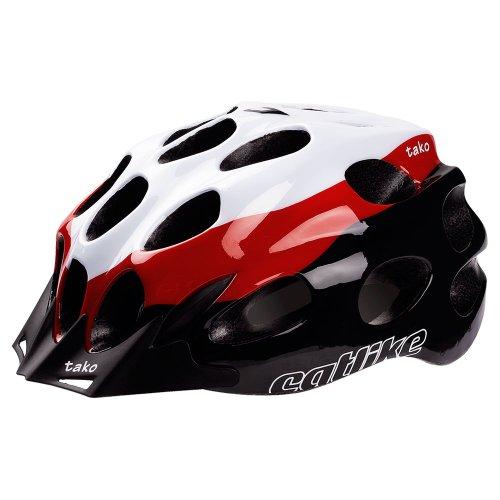 Catlike Tako - Casco de ciclismo, color blanco/rojo / negro brillo, talla LG (58-62 cm)
