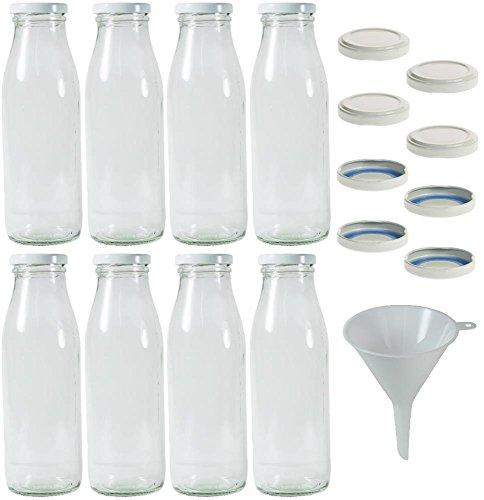 8 x Milchflaschen 0,5 Liter mit 16 x PVC freiem Schraubverschluss Weiss Zum Selbst befüllen, inkl. Trichter Ø 9 cm - Deckel Flasche Mit Milch Twist