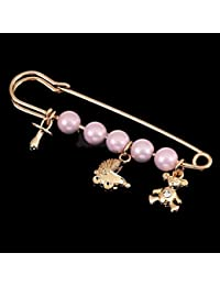 SLB Works 3Pcs Chic Brooch Pin Safety Pin Gold Tone Faux Pearl Crystal Wedding Jewelry