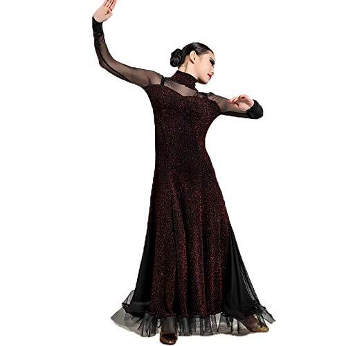 Herbst Winter Vintage Dance Dress Dunkel Rot Helle Garn Stoffe Latin Belly Dance Kostüm Lange Ärmel Tango Ballroom Dancing Prom Kleid Plus Größe XL 2XL,S