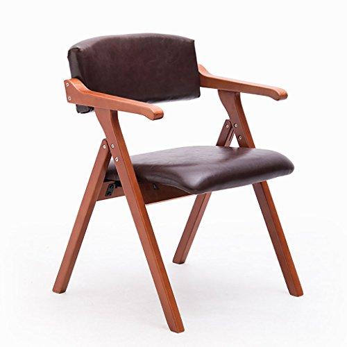 Essstühle PU-Sitz-und Rückenlehnen-Abendessen-Stuhl, Faltbare Freizeit-Stühle Mit Armlehne Für Büro Und Konferenz-Satz 1/2/3/4 (Farbe : Red-Brown Legs-C, größe : Set of 2) -