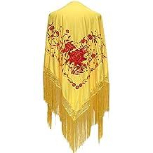 La Señorita Mantones bordados Flamenco Manton de Manila amarillo flores rojo  Large e58799f0e7e