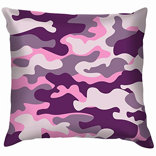 Funny&shirt Military Camouflage Purple Monochrome Camo Cotton Throw Pillow Case Cushion Cover Home Office Decorative, Square 18X18 Inch Mate, Camo