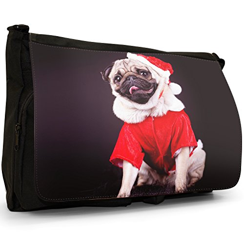 Carlino Pugs Love Little Cani Grande borsa a tracolla Messenger Tela Nera, scuola/Borsa Per Laptop Santa Pug Ready For Christmas