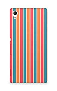 Amez designer printed 3d premium high quality back case cover for Sony Xperia Z4 (Line vertical bright colorful light texture)