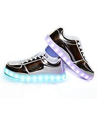 Usay like Envio 24 Horas Zapatillas LED Con 7 Colores Luces Carga USB Plateado Hombre Mujer Unisex Talla 36 hasta 45 Envio Desde España
