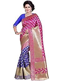 Vatsla Enterprise Women's Cotton Silk Saree With Blouse Piece (Vbopsd19_Pink & Blue)