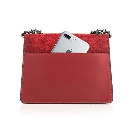 GENEVRA Borsa pochette a spalla tracola catena e accessori in metallo pelle liscia e patta camoscio Grigio scuro