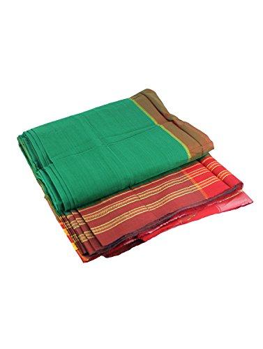 Women's Cottage Solid Nauvari Belgaum Catlon Silk Saree Free Size Forest Green...