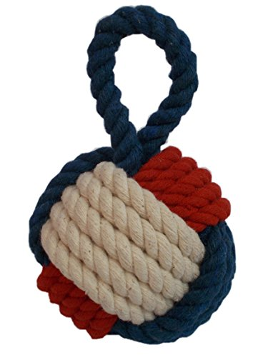 Maritimshop Maritimer Briefbeschwerer Türstopper Affenfaust Seemannsknoten 13 cm Blau Rot Weiß