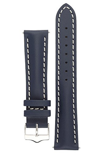 signature-racing-blue-22-mm-watch-band-replacement-watch-strap-genuine-leather-silver-buckle