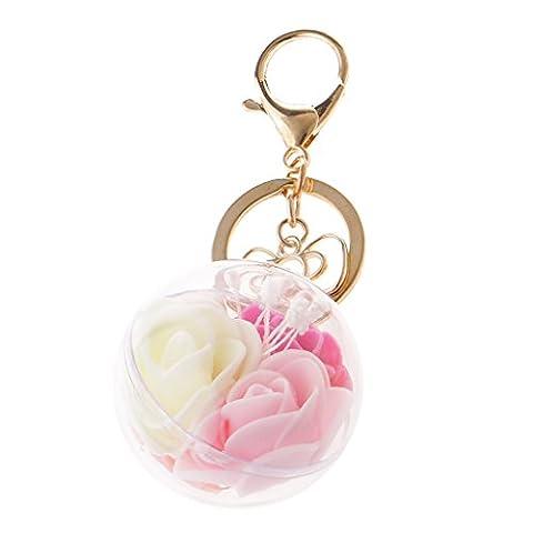 MagiDeal Porte clé Mousqueton Or Pendentif Charms Boule de Rose Art Décor Sac Femme Couleur Aléatoire