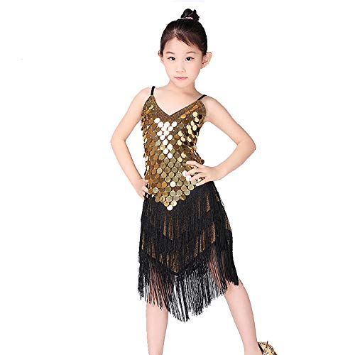 fessional Ballroom Jazz Dance Dress Kostüm Children/Children Girls Latin Dance Kostüme,Gold,150cm ()