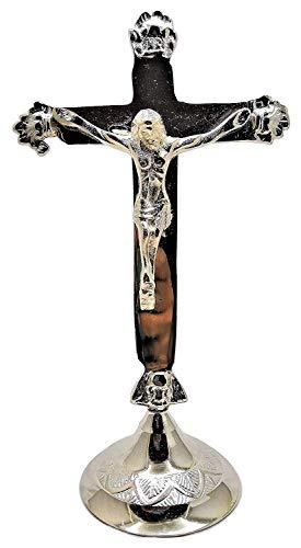 BuycraftyChristliches Kreuz Jesus Christus Statue Tischplatte aus massivem Messing, silberfarben, dekorative Kreuze (Jesus Christus Birthday Happy)